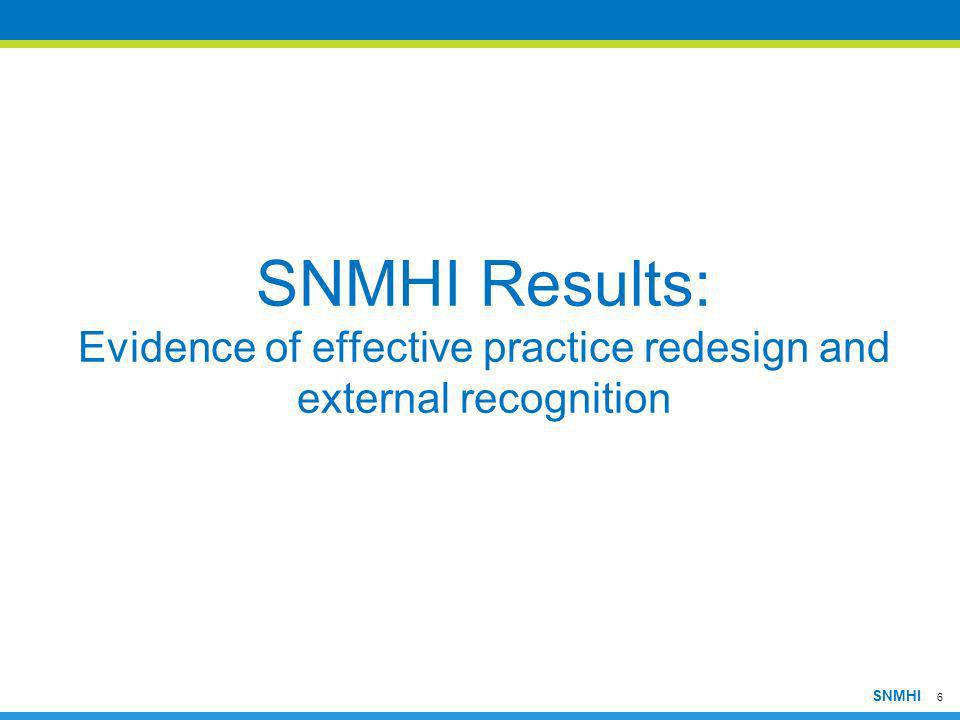 6 SNMHI SNMHI Results: Evidence of effective practice redesign and external recognition