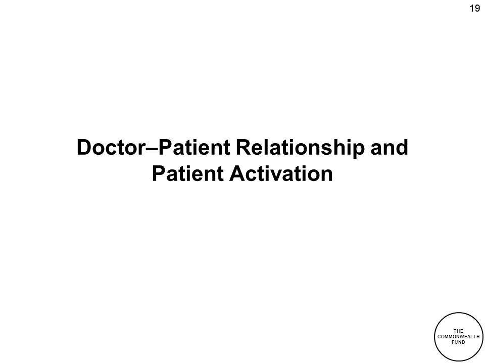 THE COMMONWEALTH FUND 19 Doctor–Patient Relationship and Patient Activation