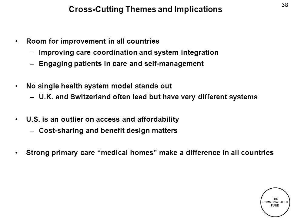 THE COMMONWEALTH FUND 38 Cross-Cutting Themes and Implications Room for improvement in all countries –Improving care coordination and system integration –Engaging patients in care and self-management No single health system model stands out –U.K.