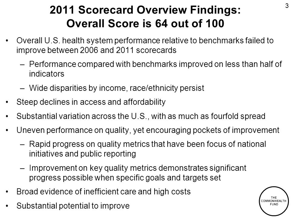 Scorecard Overview Findings: Overall Score is 64 out of 100 Overall U.S.
