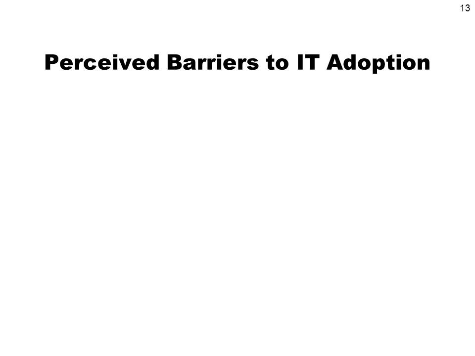 13 Perceived Barriers to IT Adoption