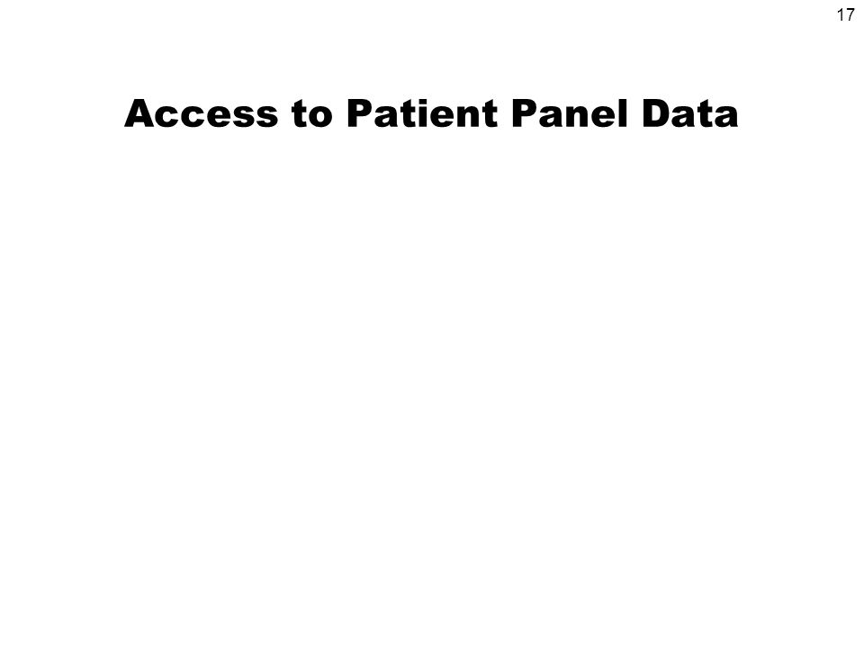 17 Access to Patient Panel Data