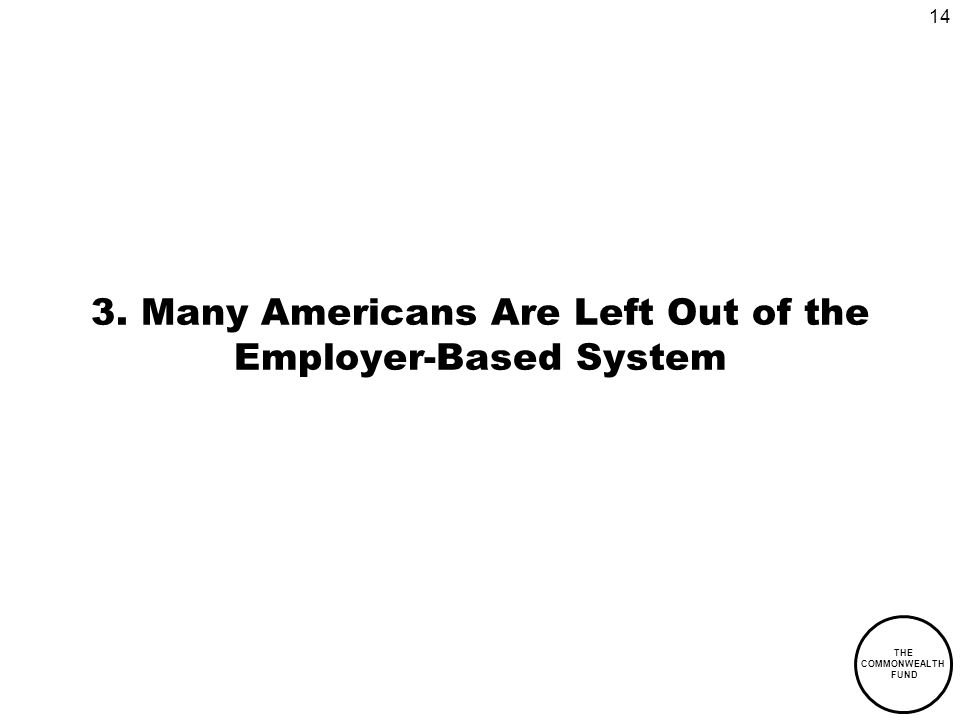 14 THE COMMONWEALTH FUND 3. Many Americans Are Left Out of the Employer-Based System