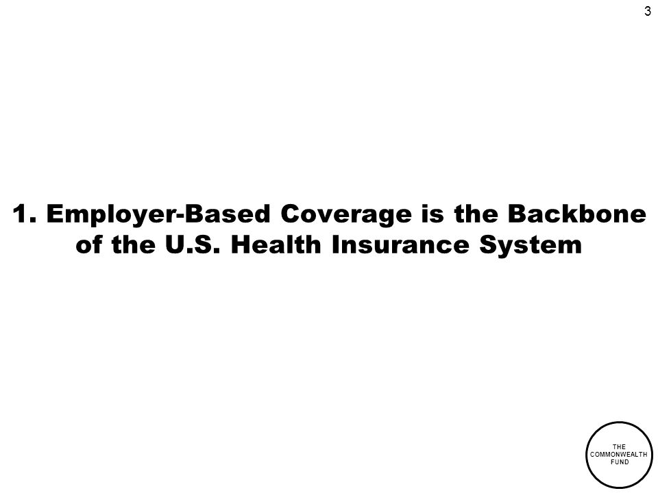 3 THE COMMONWEALTH FUND 1. Employer-Based Coverage is the Backbone of the U.S.