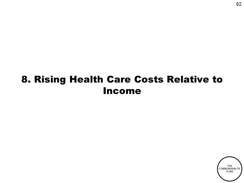92 THE COMMONWEALTH FUND 8. Rising Health Care Costs Relative to Income