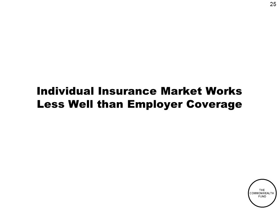 25 THE COMMONWEALTH FUND Individual Insurance Market Works Less Well than Employer Coverage