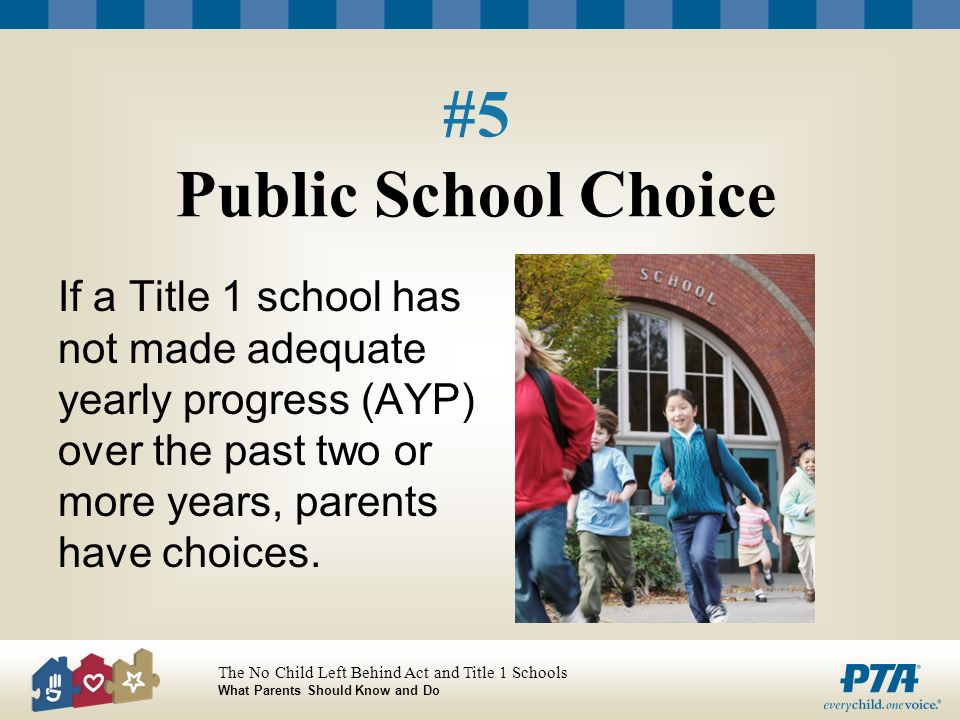 The No Child Left Behind Act and Title 1 Schools What Parents Should Know and Do #5 Public School Choice If a Title 1 school has not made adequate yearly progress (AYP) over the past two or more years, parents have choices.