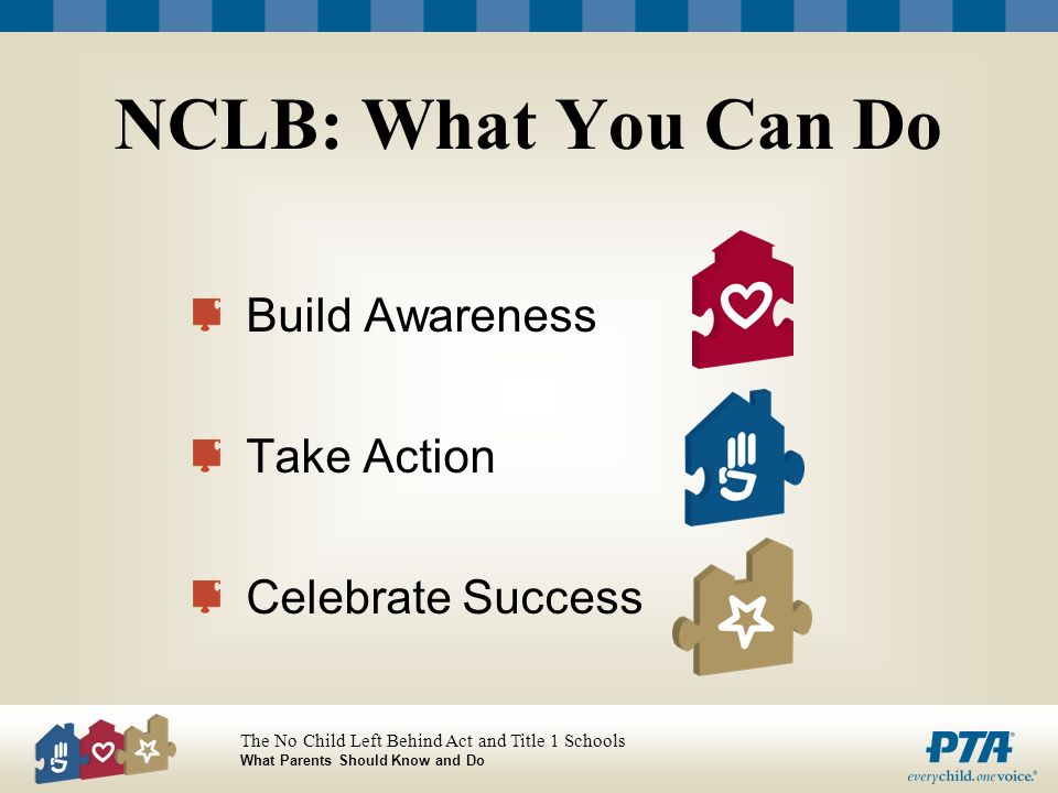 The No Child Left Behind Act and Title 1 Schools What Parents Should Know and Do NCLB: What You Can Do Build Awareness Take Action Celebrate Success