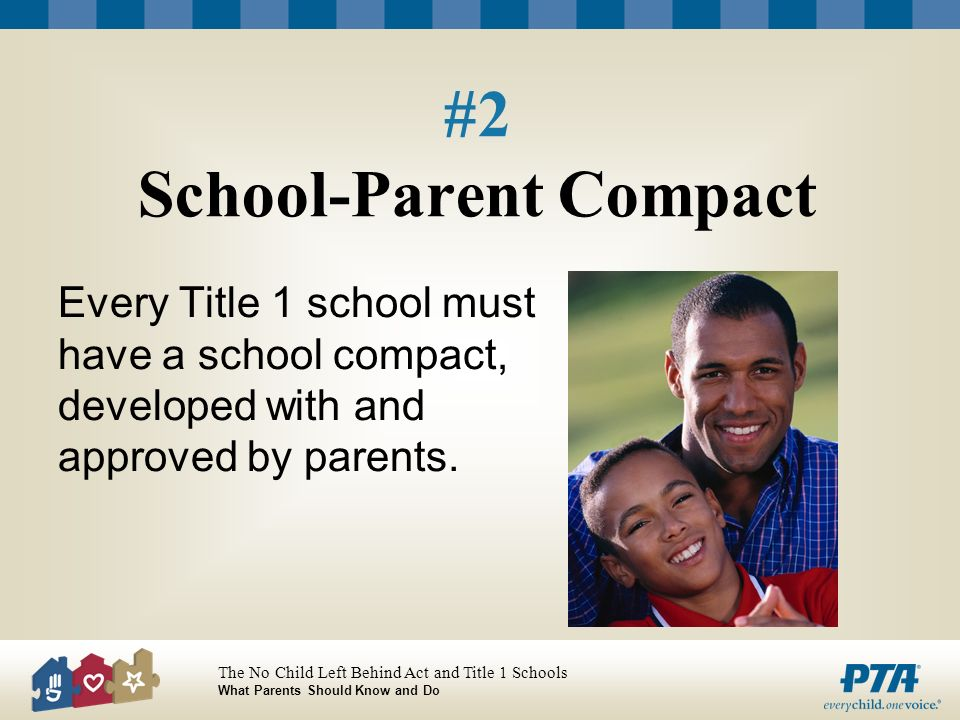 The No Child Left Behind Act and Title 1 Schools What Parents Should Know and Do #2 School-Parent Compact Every Title 1 school must have a school compact, developed with and approved by parents.