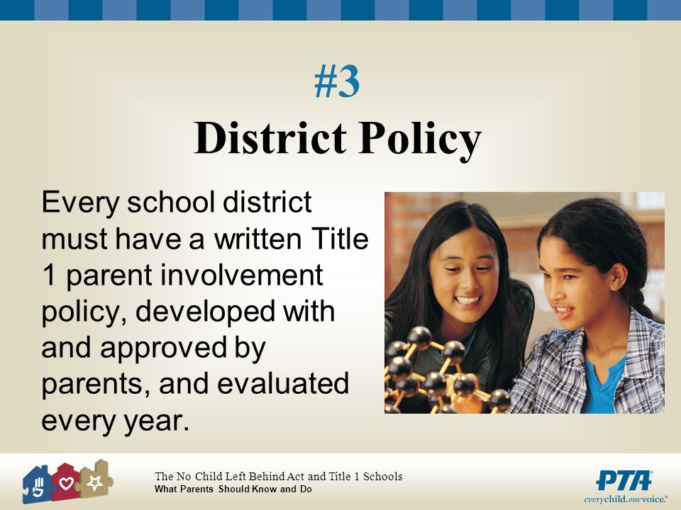 The No Child Left Behind Act and Title 1 Schools What Parents Should Know and Do #3 District Policy Every school district must have a written Title 1 parent involvement policy, developed with and approved by parents, and evaluated every year.