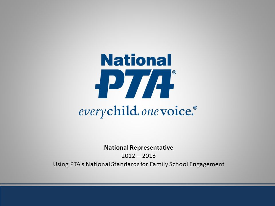 National Representative 2012 – 2013 Using PTAs National Standards for Family School Engagement