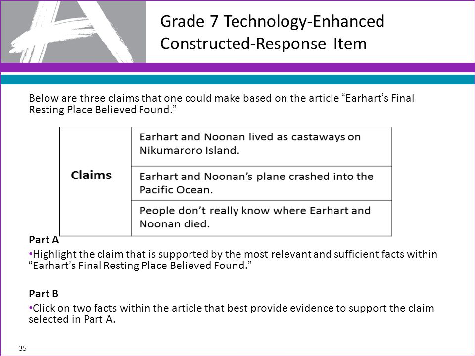 Below are three claims that one could make based on the article Earharts Final Resting Place Believed Found.