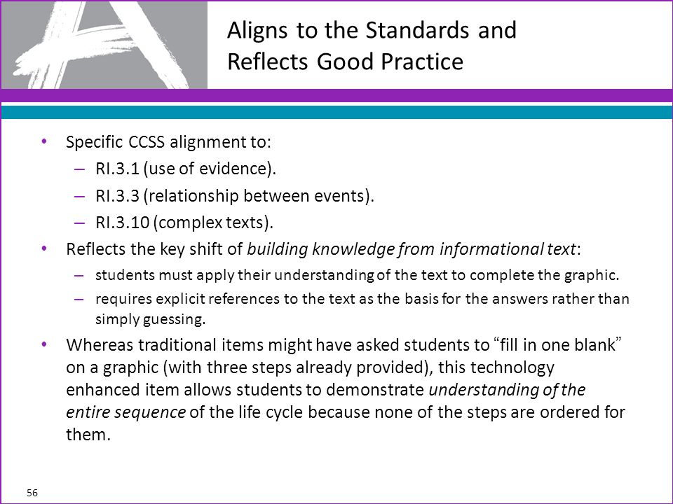 Specific CCSS alignment to: – RI.3.1 (use of evidence).