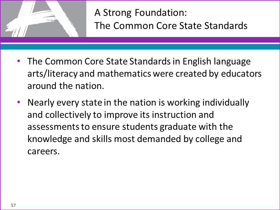 The Common Core State Standards in English language arts/literacy and mathematics were created by educators around the nation.