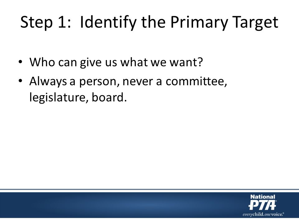 Step 1: Identify the Primary Target Who can give us what we want.
