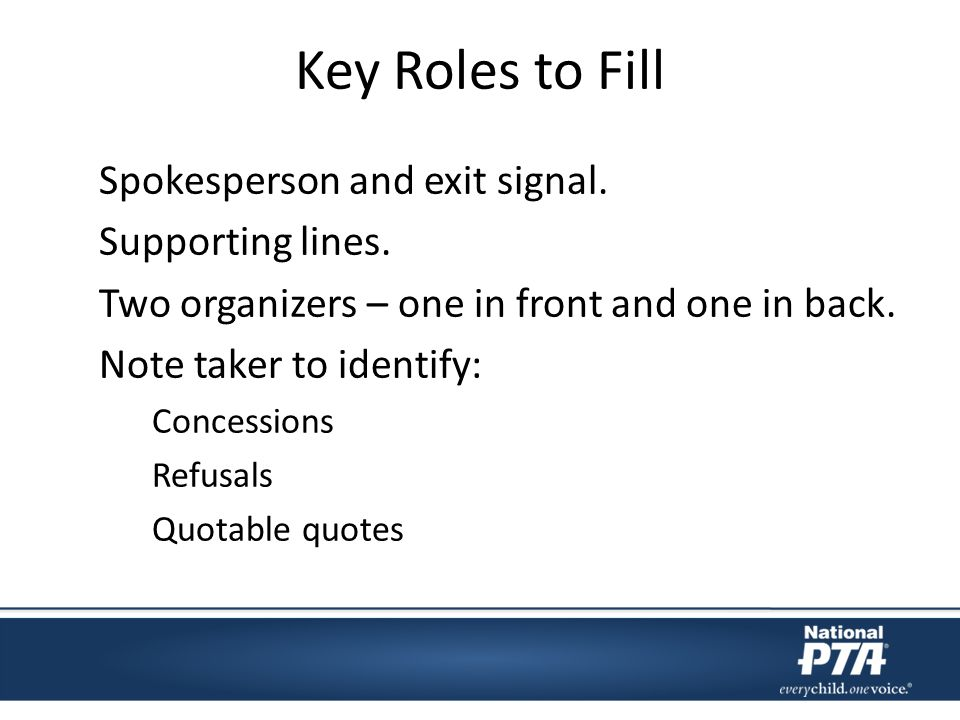 Key Roles to Fill Spokesperson and exit signal. Supporting lines.