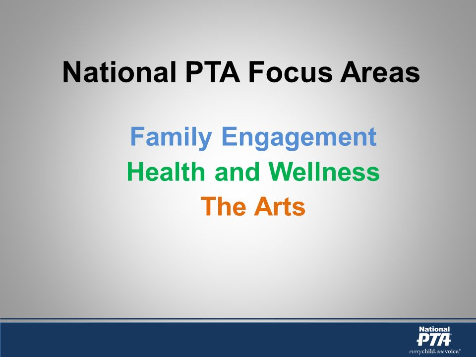 National PTA Focus Areas Family Engagement Health and Wellness The Arts