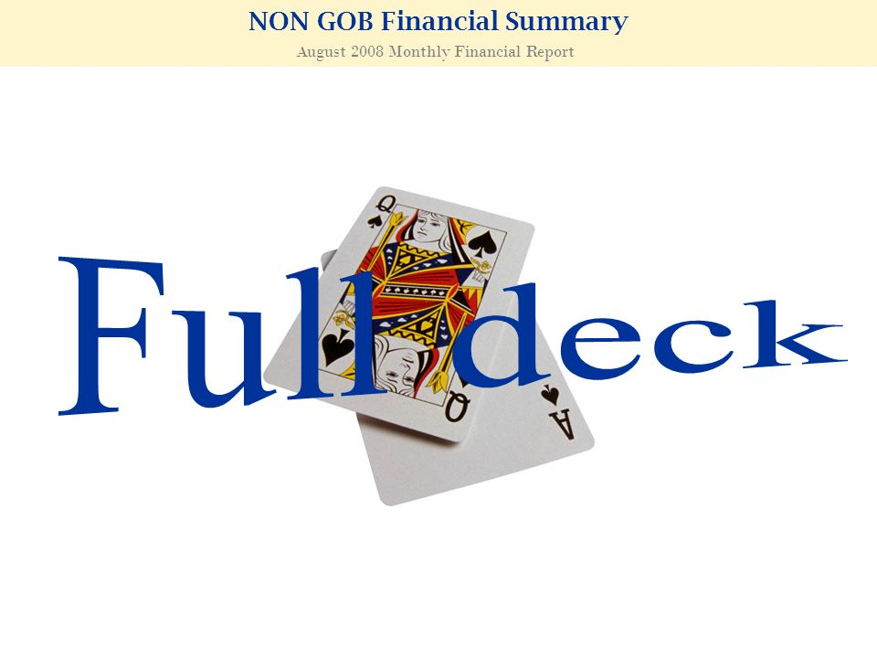 NON GOB Financial Summary August 2008 Monthly Financial Report