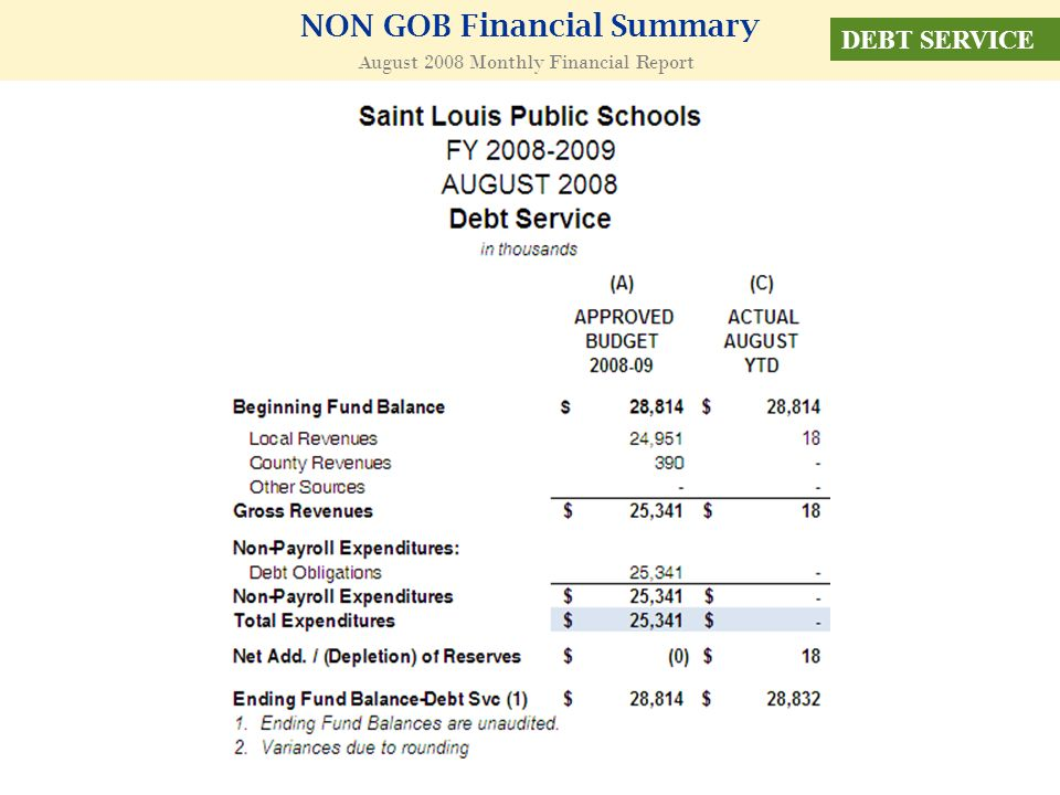 NON GOB Financial Summary August 2008 Monthly Financial Report DEBT SERVICE