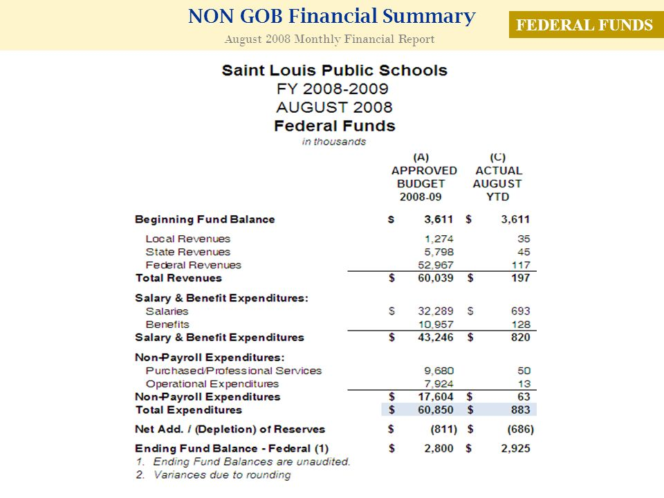 NON GOB Financial Summary August 2008 Monthly Financial Report FEDERAL FUNDS