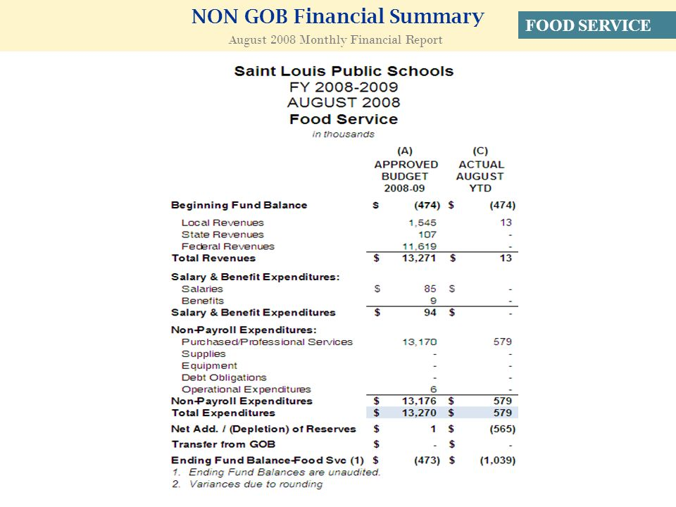 NON GOB Financial Summary August 2008 Monthly Financial Report FOOD SERVICE