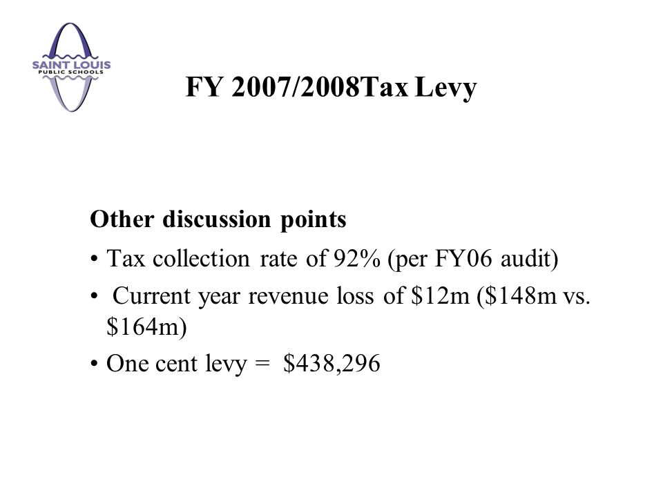 Other discussion points Tax collection rate of 92% (per FY06 audit) Current year revenue loss of $12m ($148m vs.