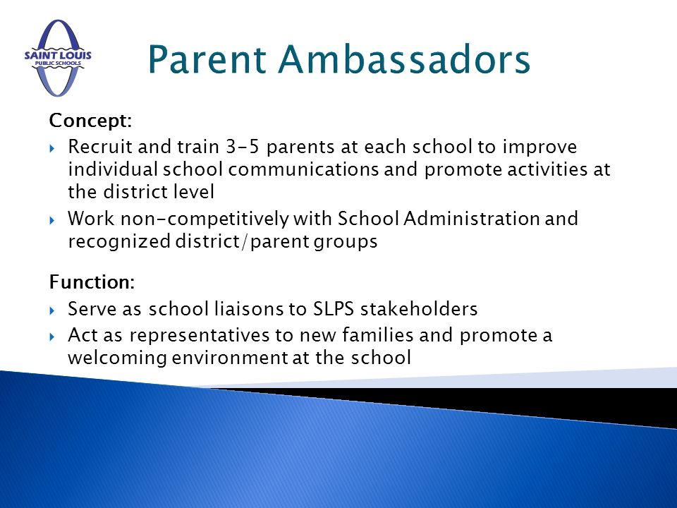 Parent Ambassadors Concept: Recruit and train 3-5 parents at each school to improve individual school communications and promote activities at the district level Work non-competitively with School Administration and recognized district/parent groups Function: Serve as school liaisons to SLPS stakeholders Act as representatives to new families and promote a welcoming environment at the school