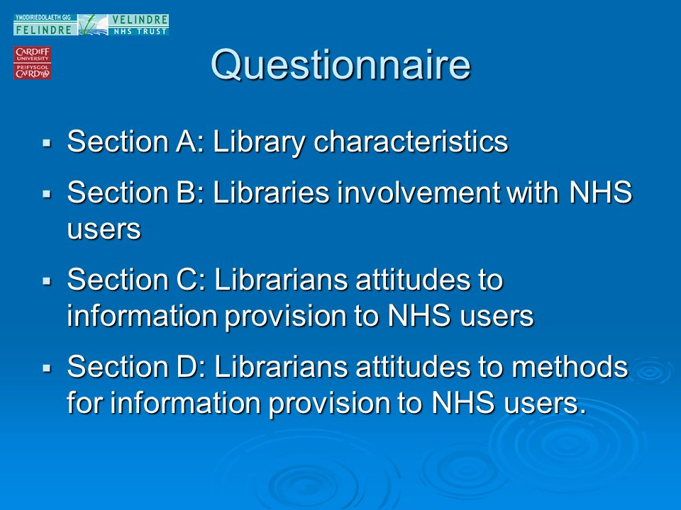Questionnaire Section A: Library characteristics Section A: Library characteristics Section B: Libraries involvement with NHS users Section B: Libraries involvement with NHS users Section C: Librarians attitudes to information provision to NHS users Section C: Librarians attitudes to information provision to NHS users Section D: Librarians attitudes to methods for information provision to NHS users.