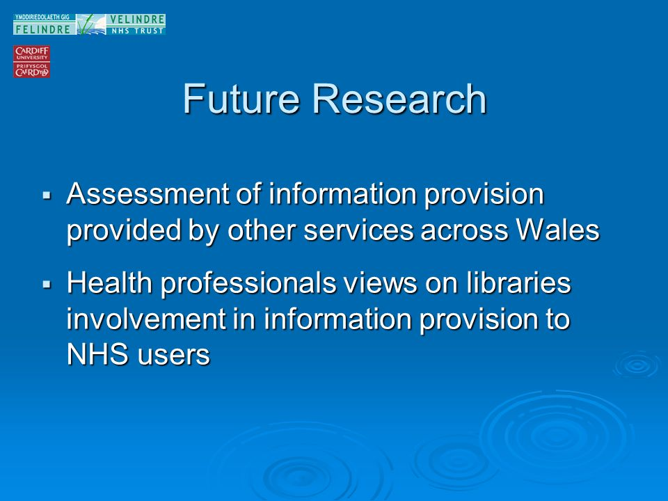 Future Research Assessment of information provision provided by other services across Wales Assessment of information provision provided by other services across Wales Health professionals views on libraries involvement in information provision to NHS users Health professionals views on libraries involvement in information provision to NHS users