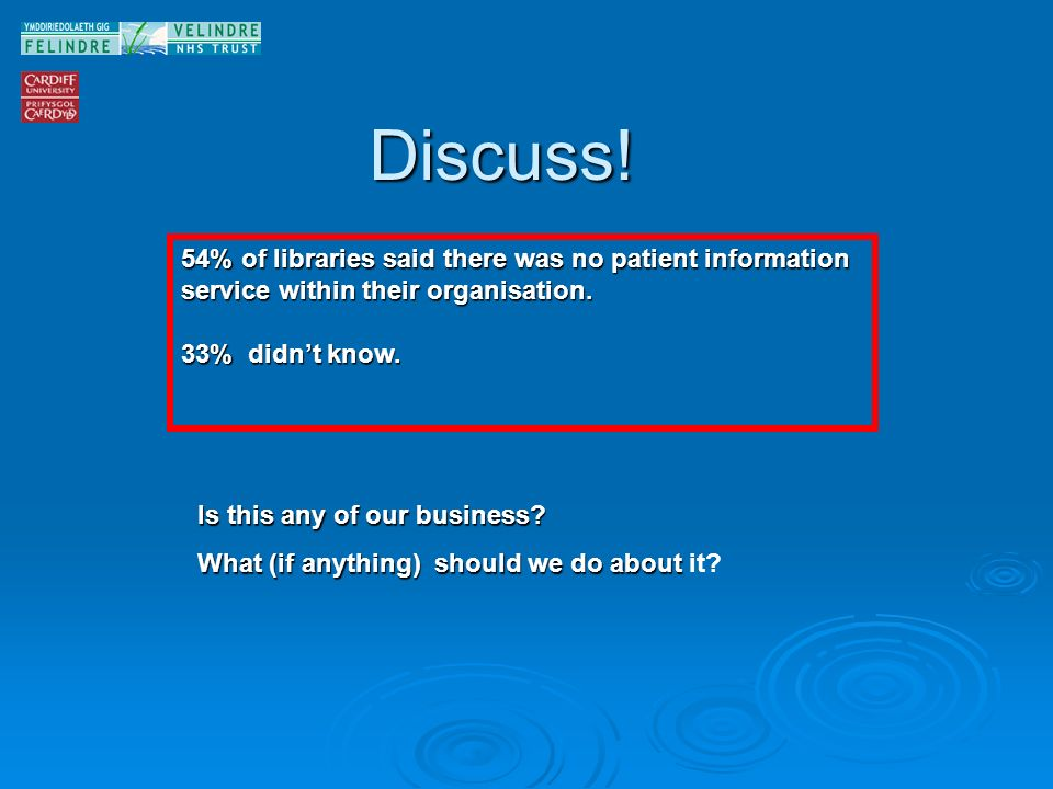 Discuss. 54% of libraries said there was no patient information service within their organisation.
