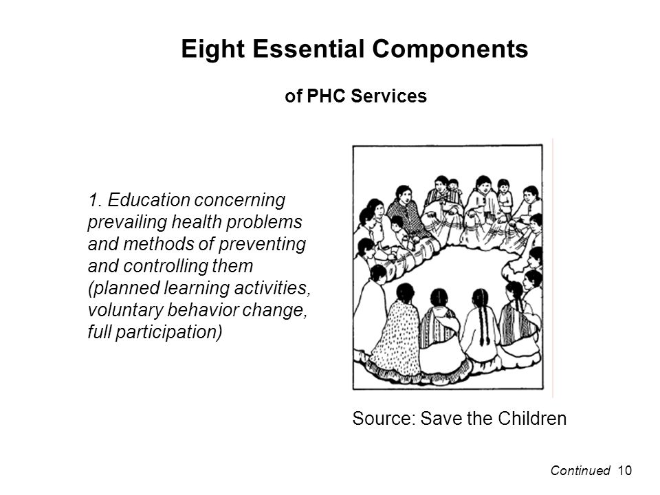 Eight Essential Components of PHC Services 1.