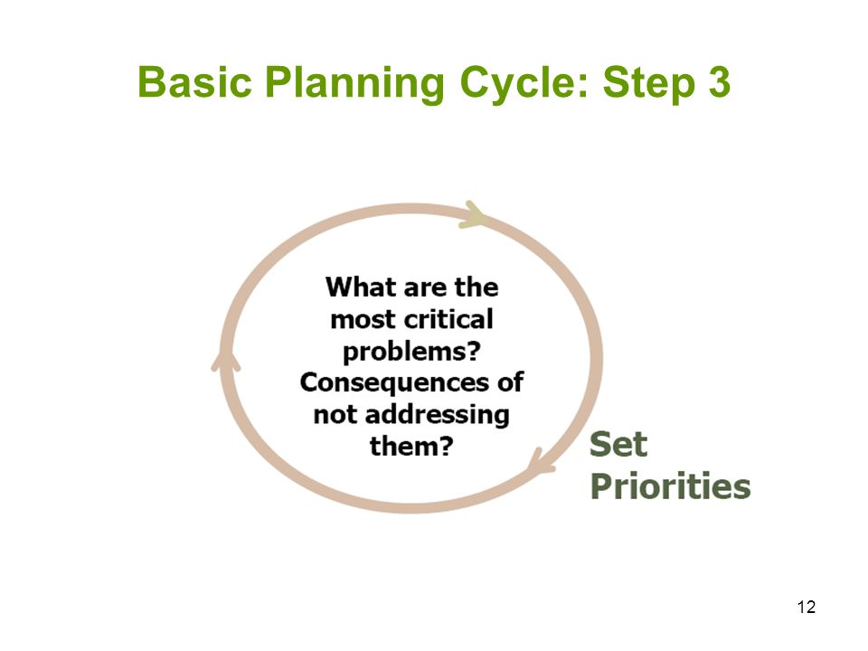 12 Basic Planning Cycle: Step 3