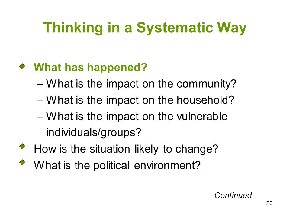 20 Thinking in a Systematic Way What has happened.