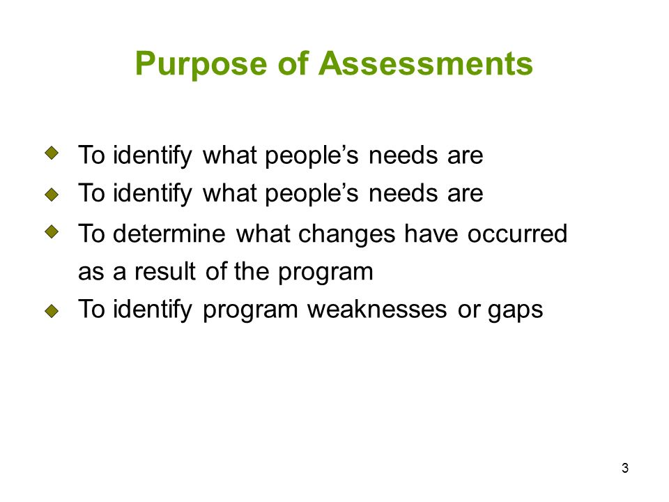 3 Purpose of Assessments To identify what peoples needs are To determine what changes have occurred as a result of the program To identify program weaknesses or gaps
