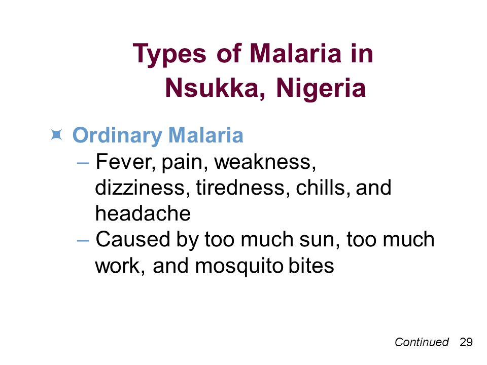 Continued 29 Types of Malaria in Nsukka, Nigeria Ordinary Malaria –Fever, pain, weakness, dizziness, tiredness, chills, and headache –Caused by too much sun, too much work, and mosquito bites