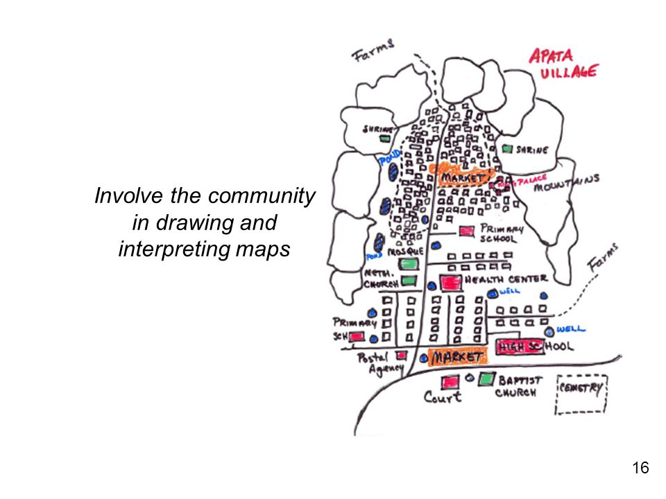 16 Involve the community in drawing and interpreting maps