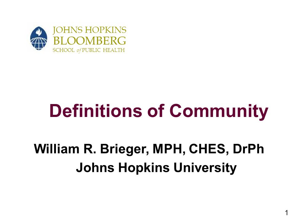 1 JOHNS HOPKINS BLOOMBERG SCHOOL of PUBLIC HEALTH Definitions of Community William R.