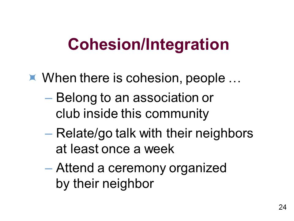 24 Cohesion/Integration When there is cohesion, people … –Belong to an association or club inside this community –Relate/go talk with their neighbors at least once a week –Attend a ceremony organized by their neighbor