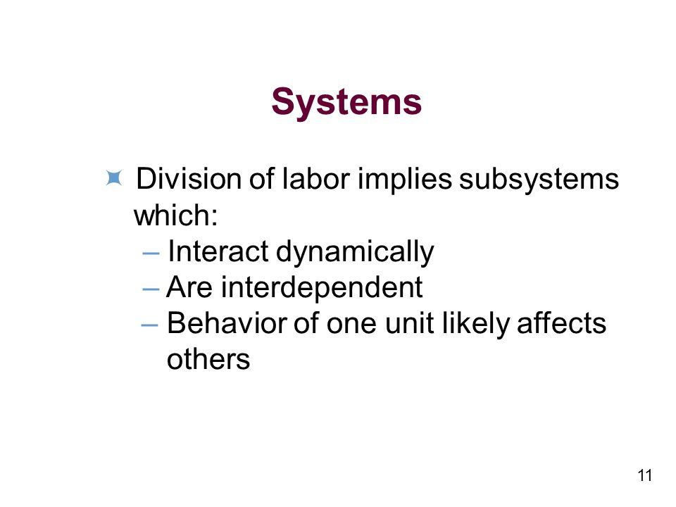 11 Systems Division of labor implies subsystems which: – Interact dynamically – Are interdependent – Behavior of one unit likely affects others