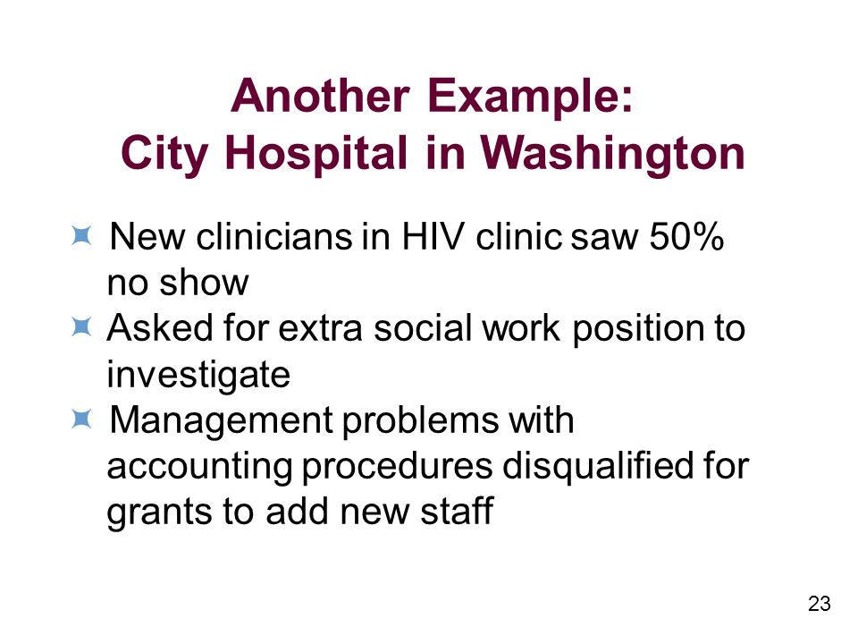 23 Another Example: City Hospital in Washington New clinicians in HIV clinic saw 50% no show Asked for extra social work position to investigate Management problems with accounting procedures disqualified for grants to add new staff