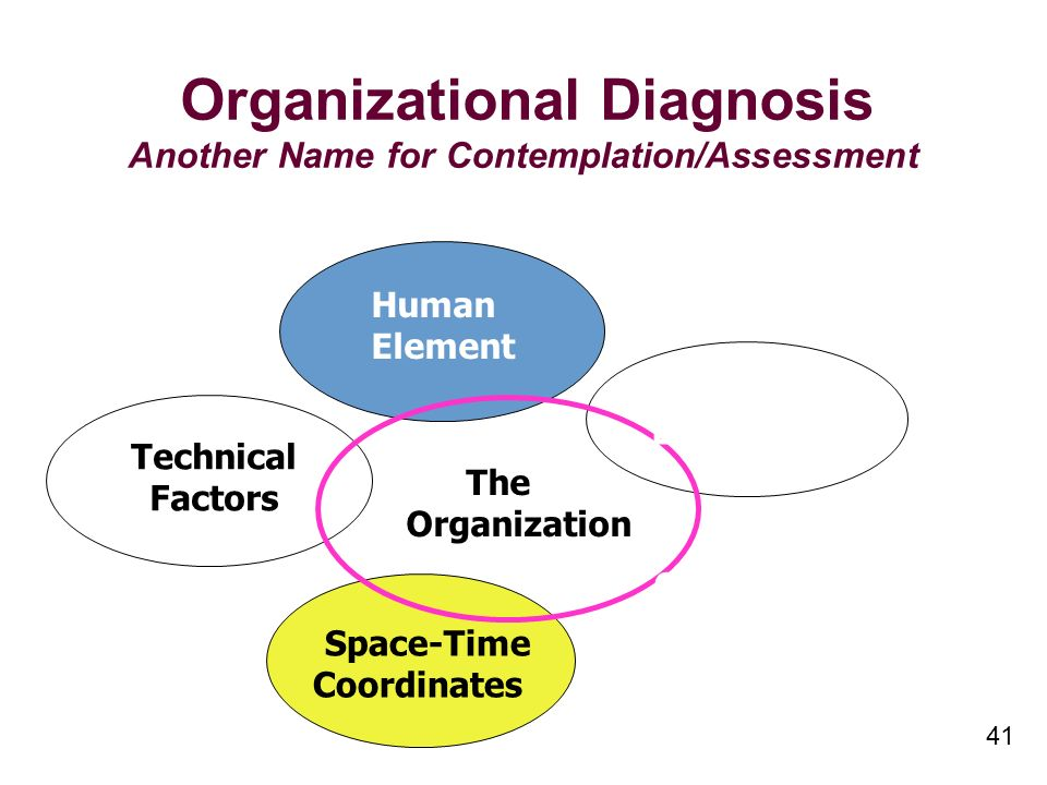 41 Organizational Diagnosis Another Name for Contemplation/Assessment Technical Factors Human Element The Organization Space-Time Coordinates The Environment Organizationa l Policy