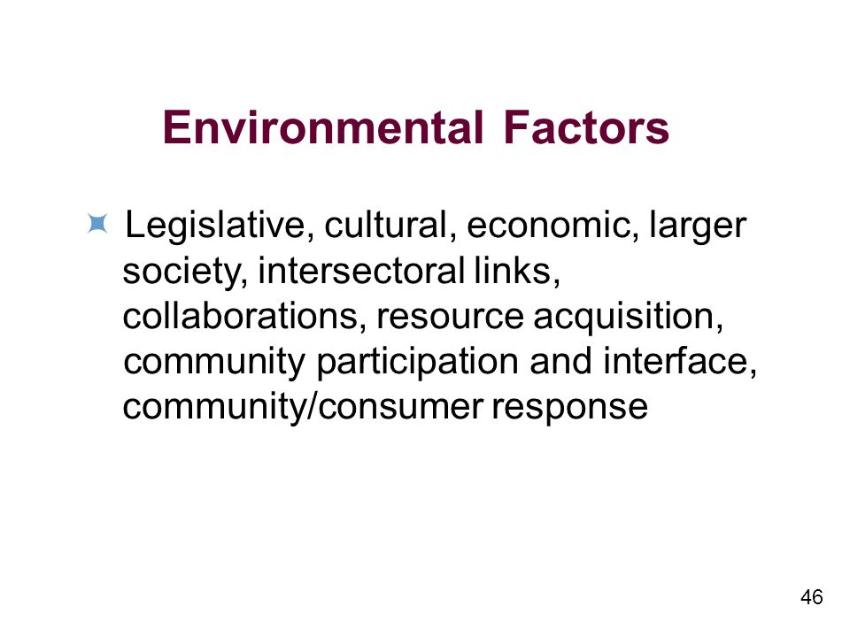 46 Environmental Factors Legislative, cultural, economic, larger society, intersectoral links, collaborations, resource acquisition, community participation and interface, community/consumer response