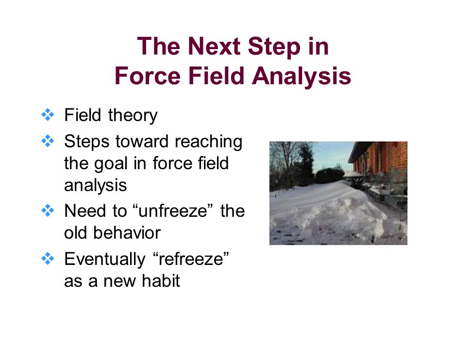 The Next Step in Force Field Analysis Field theory Steps toward reaching the goal in force field analysis Need to unfreeze the old behavior Eventually refreeze as a new habit