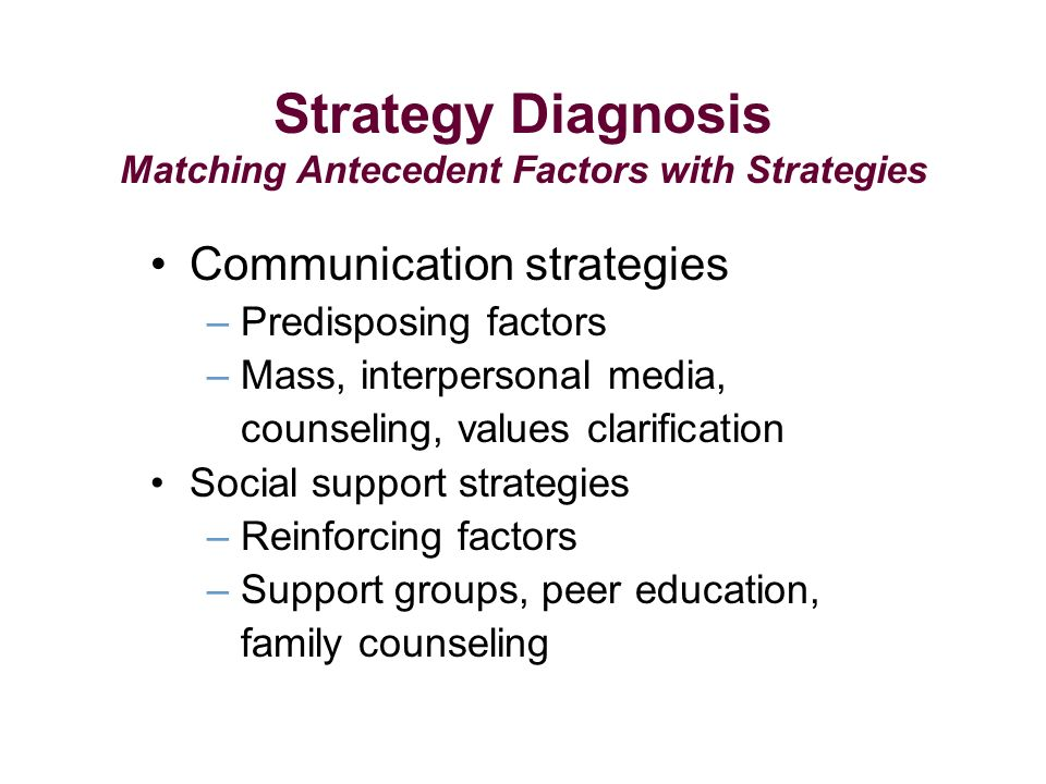 Strategy Diagnosis Matching Antecedent Factors with Strategies Communication strategies – Predisposing factors – Mass, interpersonal media, counseling, values clarification Social support strategies – Reinforcing factors – Support groups, peer education, family counseling