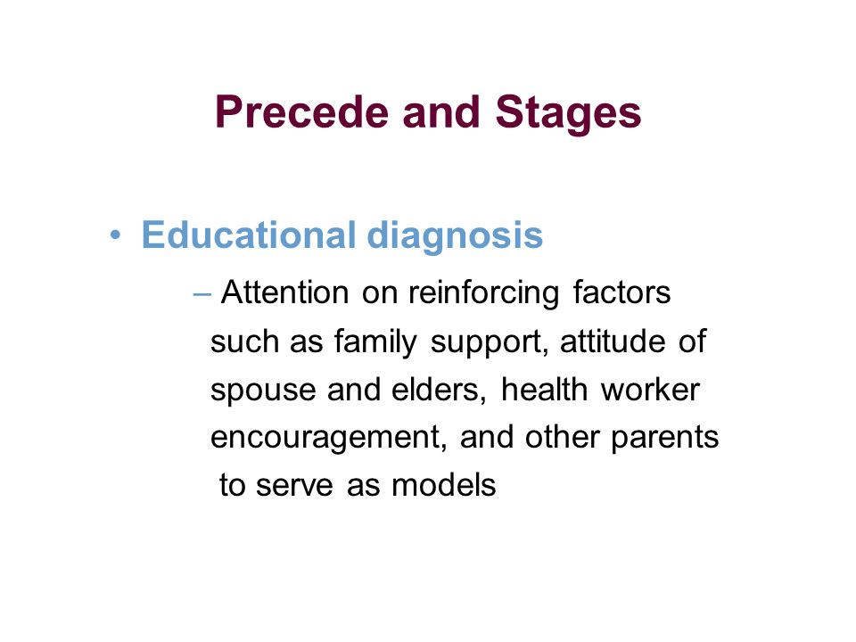 Educational diagnosis – Attention on reinforcing factors such as family support, attitude of spouse and elders, health worker encouragement, and other parents to serve as models