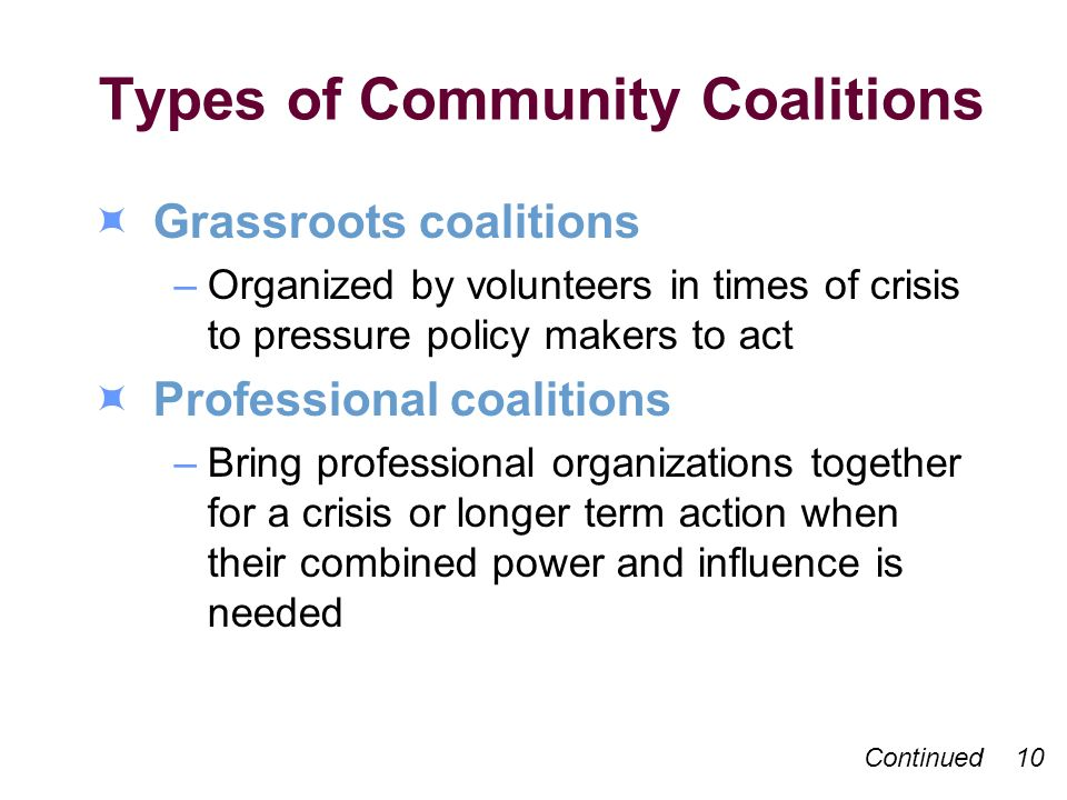 Types of Community Coalitions Grassroots coalitions –Organized by volunteers in times of crisis to pressure policy makers to act Professional coalitions –Bring professional organizations together for a crisis or longer term action when their combined power and influence is needed Continued 10