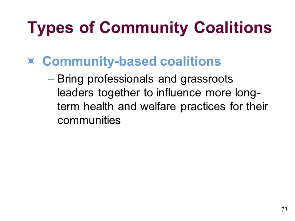 Types of Community Coalitions Community-based coalitions –Bring professionals and grassroots leaders together to influence more long- term health and welfare practices for their communities 11