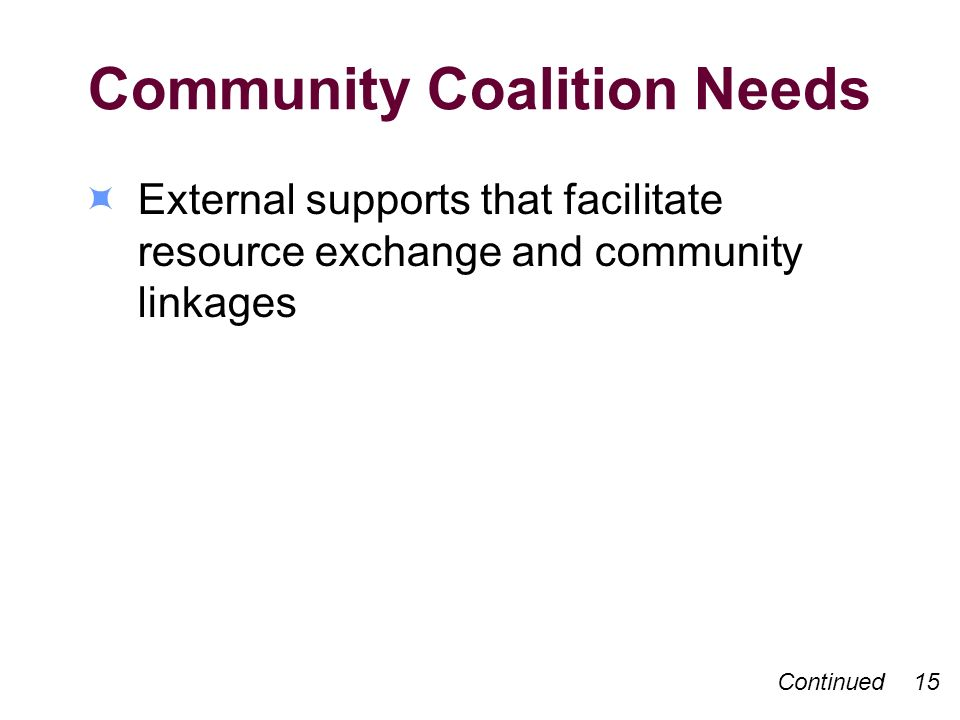 Community Coalition Needs External supports that facilitate resource exchange and community linkages Continued 15