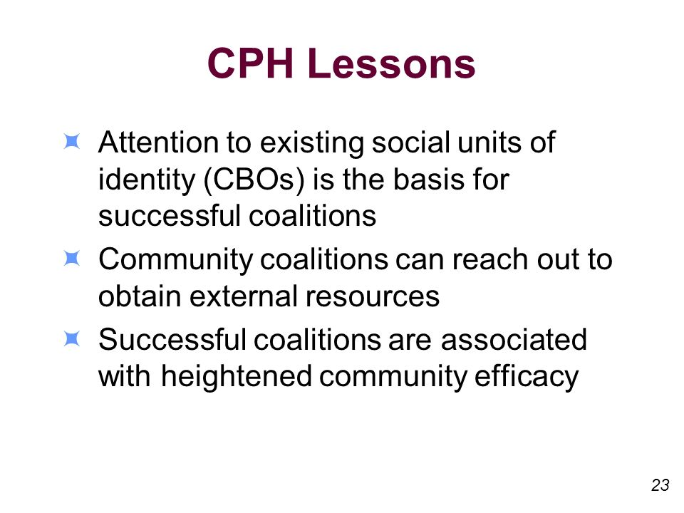 CPH Lessons Attention to existing social units of identity (CBOs) is the basis for successful coalitions Community coalitions can reach out to obtain external resources Successful coalitions are associated with heightened community efficacy 23