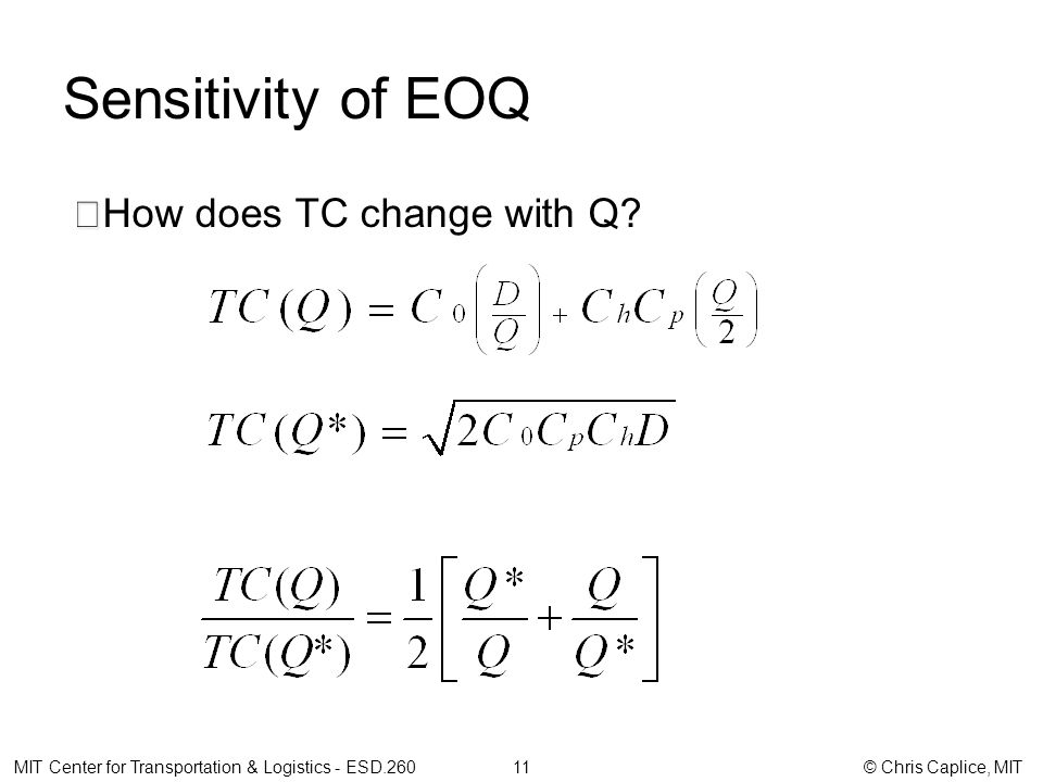 Sensitivity of EOQ How does TC change with Q.